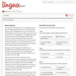 Text über die Woche, Aktivitäten und Wochentage - Deutsch für Anfänger