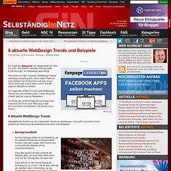 8 aktuelle WebDesign Trends > Webdesign