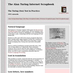 Alan Turing Scrapbook - the Turing Test in Practice