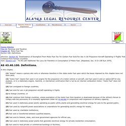 Alaska Statutes: AS 43.40.100. Definitions.