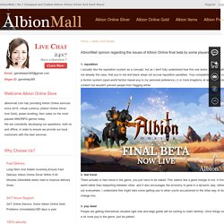 AlbionMall opinion regarding the issues of Albion Online final beta by some players - albionmall.com