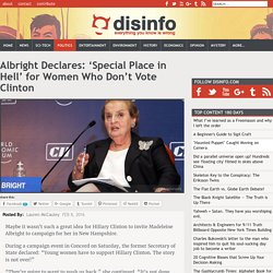Albright Declares: 'Special Place in Hell' for Women Who Don't Vote Clinton