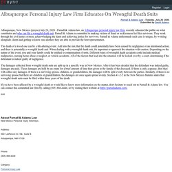 Albuquerque Personal Injury Law Firm Educates On Wrongful Death Suits