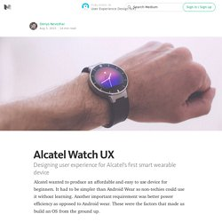 Alcatel Watch UX — User Experience Design (UX)