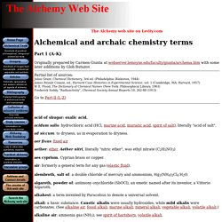 Alchemical and archaic chemistry terms