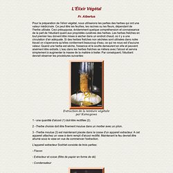 Alchimie et spagyrie : Elixir végétal albertus