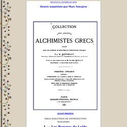 Les alchimistes grecs : table des matières.