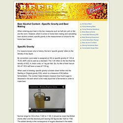 Beer Alcohol Content - Specific Gravity - Beer Making