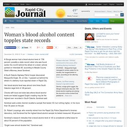 Woman's blood alcohol content topples state records