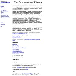 Alessandro Acquisti-The Economics of Privacy-Resources on financial privacy,economics,anonymity