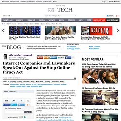 Alexander Howard: Internet Companies and Lawmakers Speak Out Against the Stop Online Piracy Act