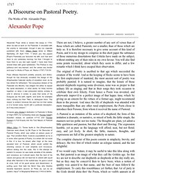 Alexander Pope: A Discourse on Pastoral Poetry.