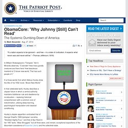 Mark Alexander: ObamaCore: 'Why Johnny [Still] Can't Read'