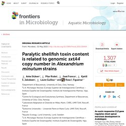 FRONTIERS IN MICROBIOLOGY 01/05/15 Paralytic shellfish toxin content is related to genomic sxtA4 copy number in Alexandrium minutum strains