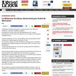 La Bélarusse Svetlana Alexievitch prix Nobel de littérature