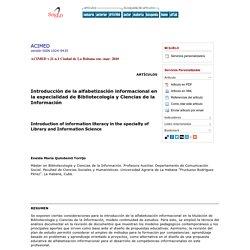 Introducción de la alfabetización informacional en la especialidad de Bibliotecología y Ciencias de la Información