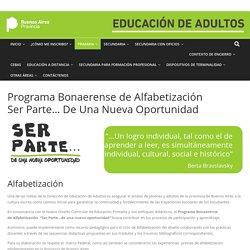 Alfabetización PBA Ser Parte – Educación de Adultos