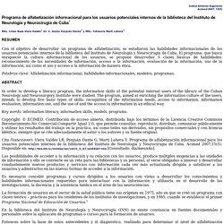 Programa de alfabetización informacional para los usuarios potenciales internos de la biblioteca del Instituto de Neurología y Neurocirugía de Cuba