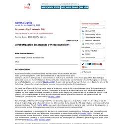 Revista signos - Alfabetización Emergente y Metacognición