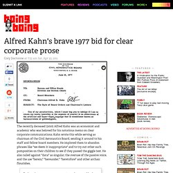 Alfred Kahn's brave 1977 bid for clear corporate prose