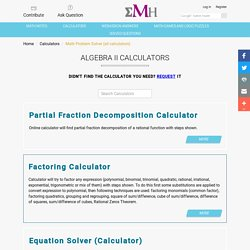 Algebra II Calculators - eMathHelp