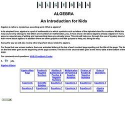 Algebra Main Page