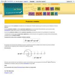 Álgebra: Productos notables