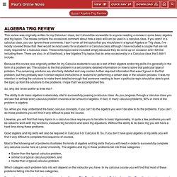 Algebra Trig Review