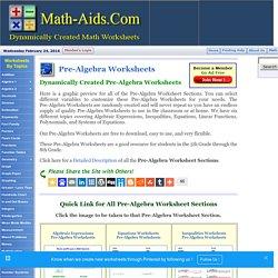 Dynamically Created Pre-Algebra Worksheets