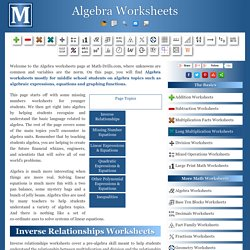 Free Printable Algebra Worksheets