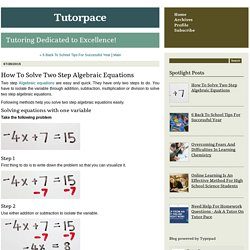 How To Solve Two Step Algebraic Equations