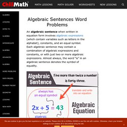 Algebraic Sentences Word Problems - ChiliMath