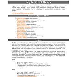 Algebraic Set Theory