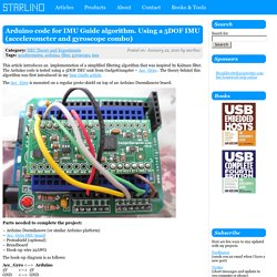Arduino code for IMU Guide algorithm. Using a 5DOF IMU (accelerometer and gyroscope combo)
