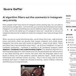 AI algorithm filters out the comments in Instagram very strictly