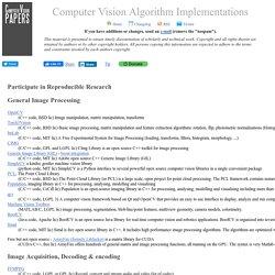 Computer Vision Algorithm Implementations