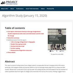 Algorithm Study (January 15, 2020) – Project Information Literacy