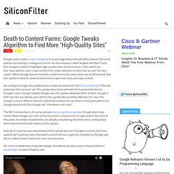 "Death to Content Farms: Google Tweaks Algorithm to Find More ""High-Quality Sites"" — NewsGrange"