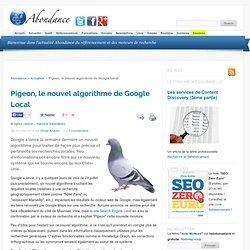 Pigeon, le nouvel algorithme de Google Local