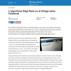 L'algorithme Edge Rank ou le filtrage selon Facebook