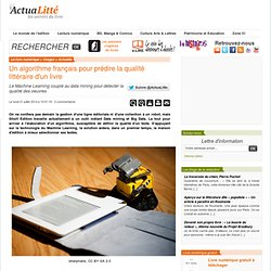 Un algorithme français pour prédire la qualité littéraire d'un livre