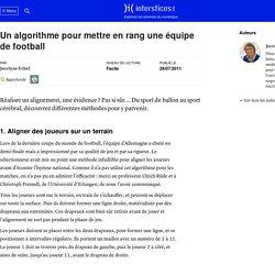 Un algorithme pour mettre en rang une équipe de football