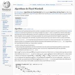 Algorithme de Floyd-Warshall