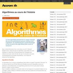 Algorithmes au cours de l'histoire