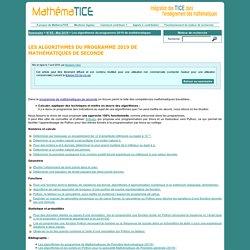 Les algorithmes du programme 2019 de mathématiques de Seconde