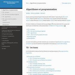 Algorithmes et programmation — Python dans tous ses états 0.8.1625