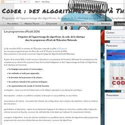 Coder : des algorithmes jusqu'à Thymio: Les programmes officiels 2016