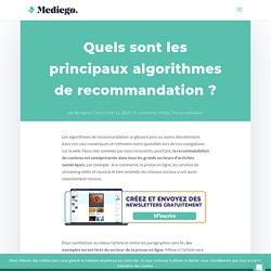 Quels sont les principaux algorithmes de recommandation ?