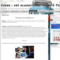 Coder : des algorithmes jusqu'à Thymio: Algorithmie