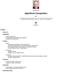 Algorithmic Composition (2007)